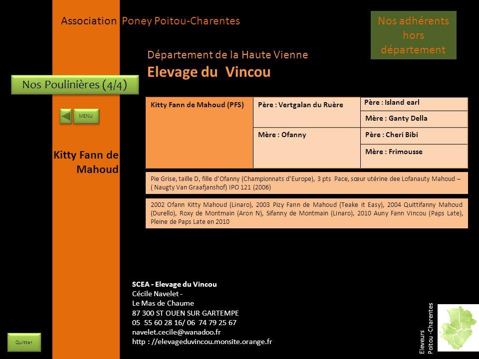 APPC Présidente Lynda JOURDAIN La Gravière 79400 AUGE 06 27 34 23 78 Association Poney Poitou-Charentes Nos Poulinières (4/4) Kitty Fann de Mahoud (PF