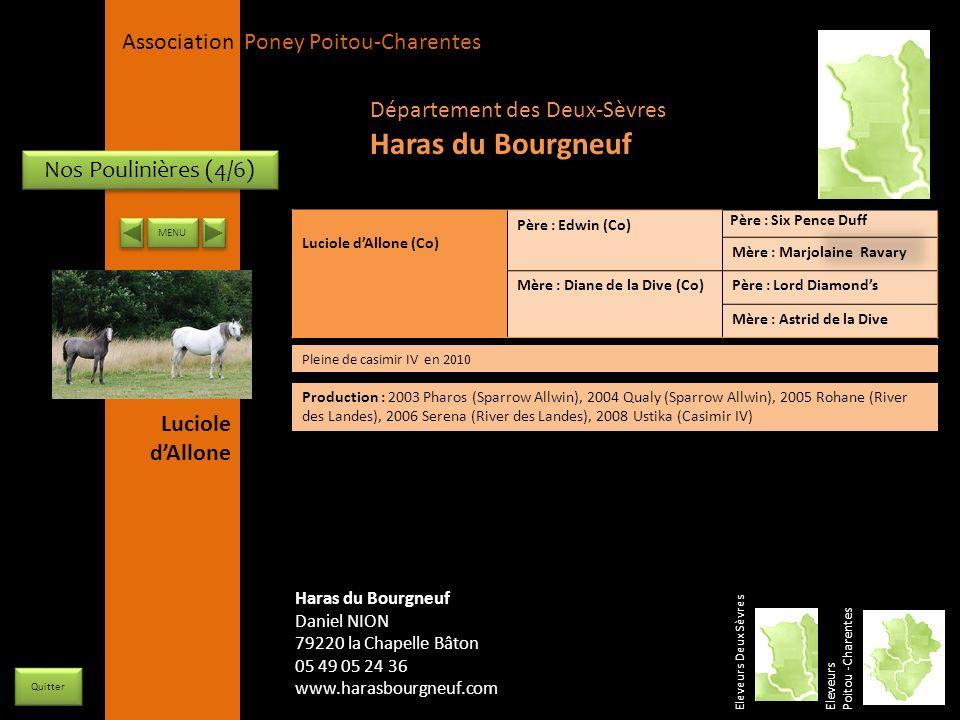 APPC Présidente Lynda JOURDAIN La Gravière 79400 AUGE 06 27 34 23 78 Association Poney Poitou-Charentes Nos Poulinières (4/6) Luciole dAllone (Co) Pèr