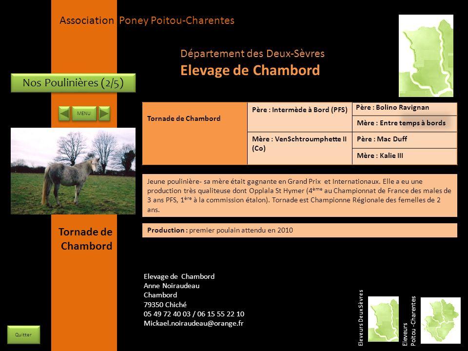 APPC Présidente Lynda JOURDAIN La Gravière 79400 AUGE 06 27 34 23 78 Association Poney Poitou-Charentes Nos Poulinières (2/5) Tornade de Chambord Père