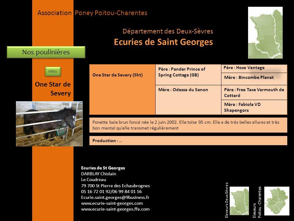 APPC Présidente Lynda JOURDAIN La Gravière 79400 AUGE 06 27 34 23 78 Association Poney Poitou-Charentes Nos poulinières One Star de Severy (Sht) Père