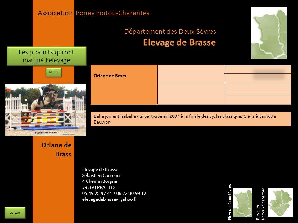 APPC Présidente Lynda JOURDAIN La Gravière 79400 AUGE 06 27 34 23 78 Association Poney Poitou-Charentes Les produits qui ont marqué lélevage Orlane de