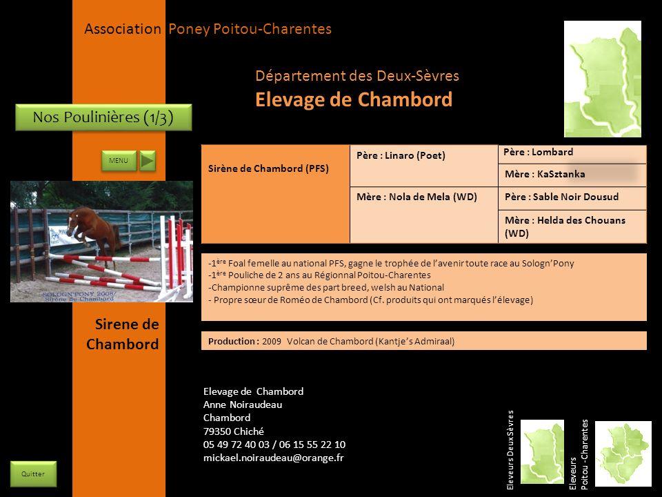 APPC Présidente Lynda JOURDAIN La Gravière 79400 AUGE 06 27 34 23 78 Association Poney Poitou-Charentes Nos Poulinières (1/3) Sirène de Chambord (PFS)