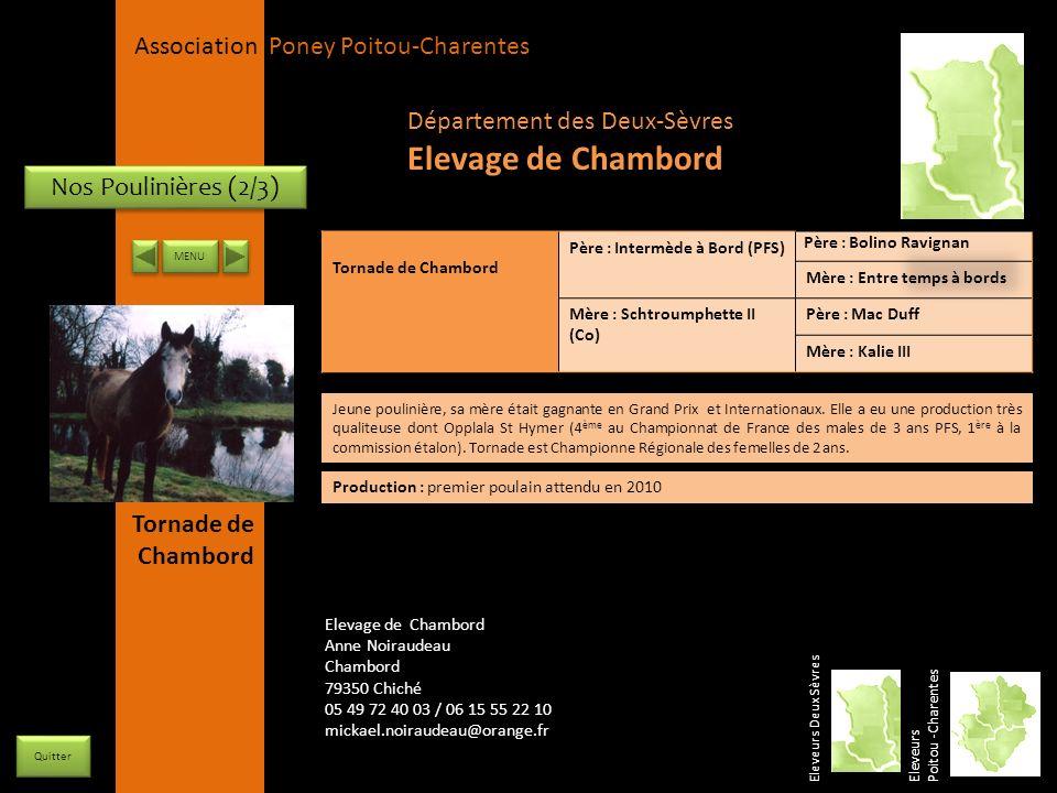 APPC Présidente Lynda JOURDAIN La Gravière 79400 AUGE 06 27 34 23 78 Association Poney Poitou-Charentes Nos Poulinières (2/3) Tornade de Chambord Père