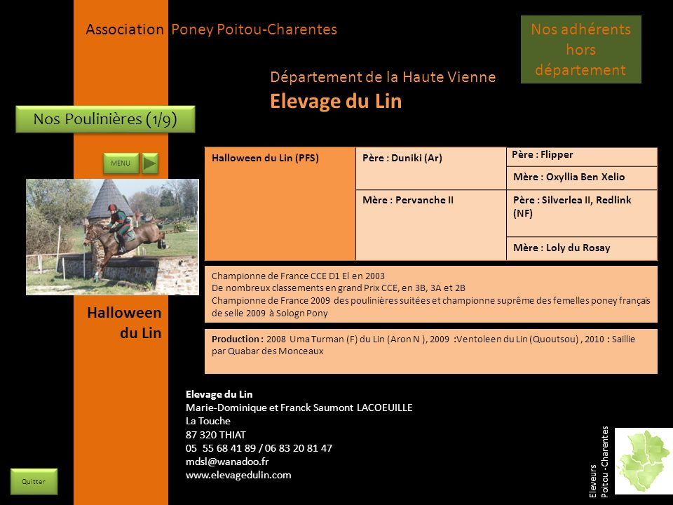 APPC Présidente Lynda JOURDAIN La Gravière 79400 AUGE 06 27 34 23 78 Association Poney Poitou-Charentes Nos Poulinières (1/9) Halloween du Lin (PFS)Pè