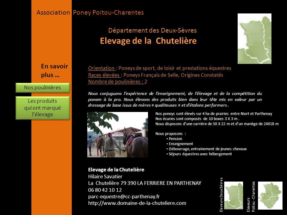 APPC Présidente Lynda JOURDAIN La Gravière 79400 AUGE 06 27 34 23 78 Association Poney Poitou-Charentes Orientation : Poneys de sport, de loisir et pr