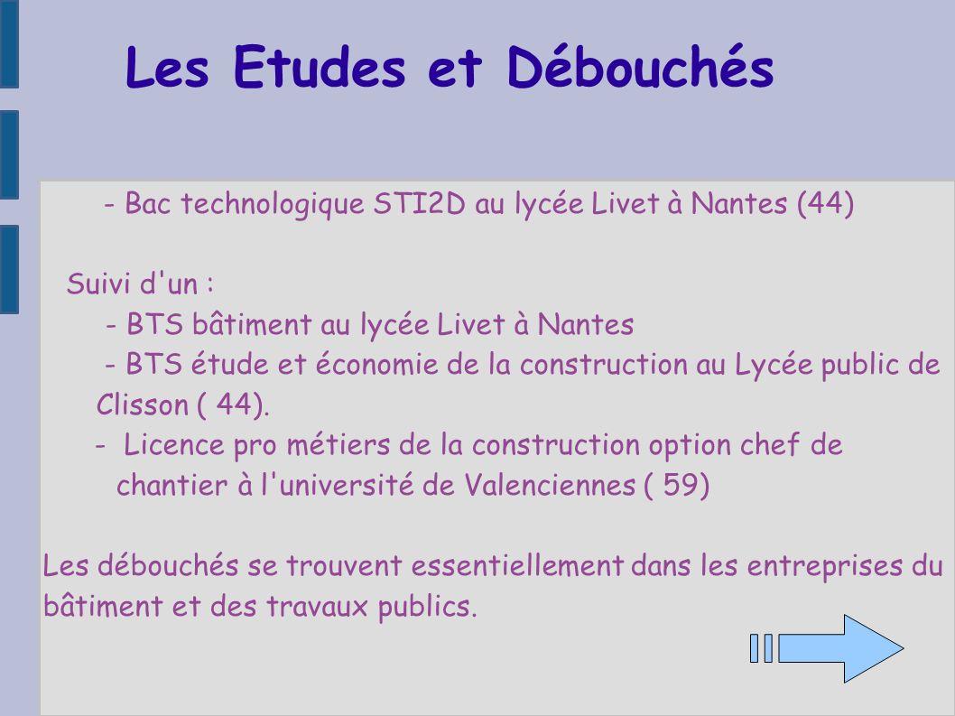 Les Etudes et Débouchés - Bac technologique STI2D au lycée Livet à Nantes (44) Suivi d'un : - BTS bâtiment au lycée Livet à Nantes - BTS étude et écon