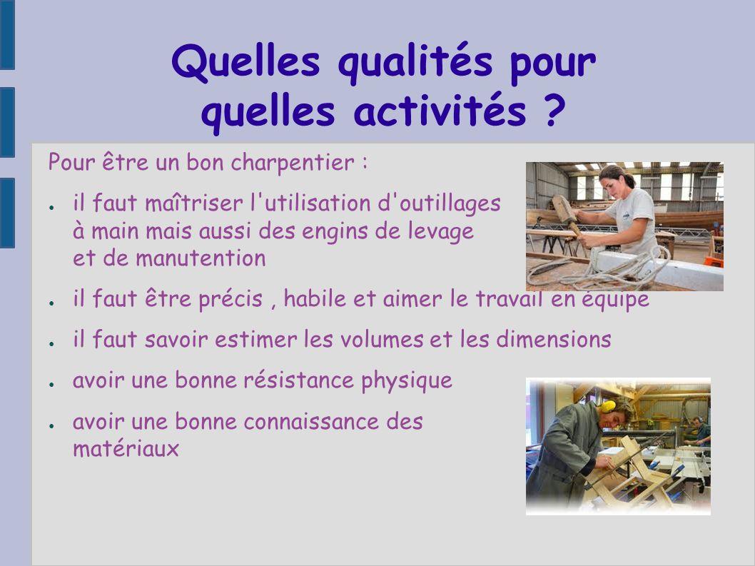 Quelles qualités pour quelles activités ? Pour être un bon charpentier : il faut maîtriser l'utilisation d'outillages à main mais aussi des engins de