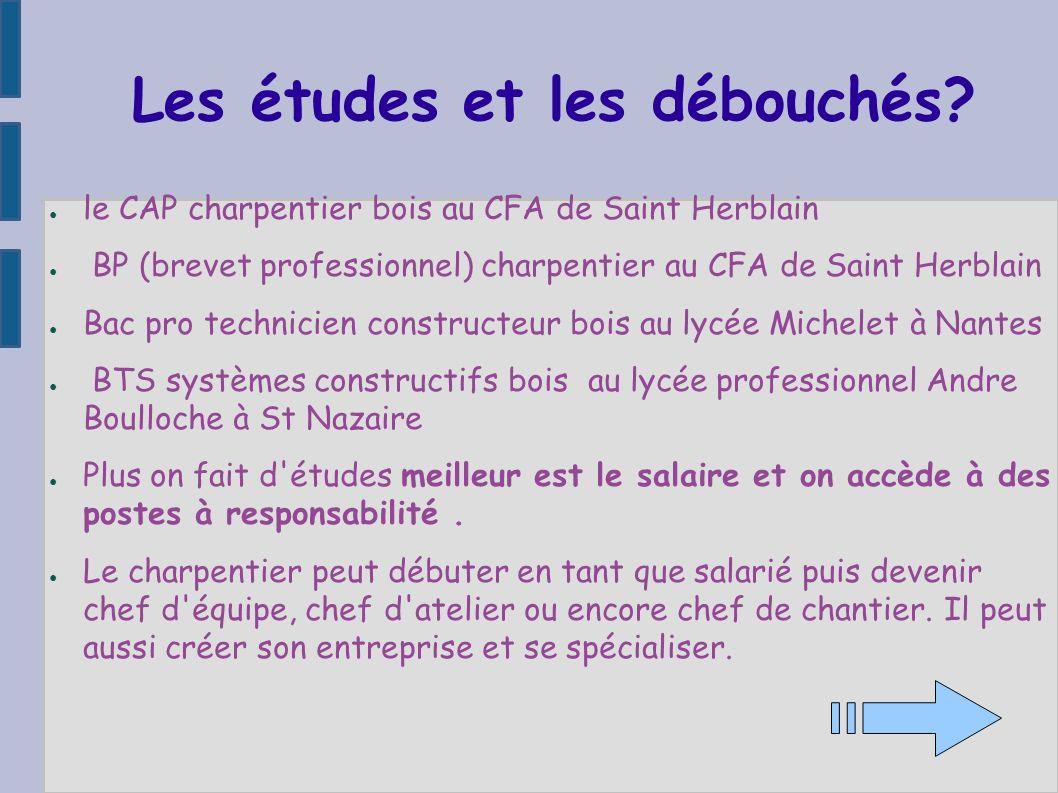 Les études et les débouchés? le CAP charpentier bois au CFA de Saint Herblain BP (brevet professionnel) charpentier au CFA de Saint Herblain Bac pro t