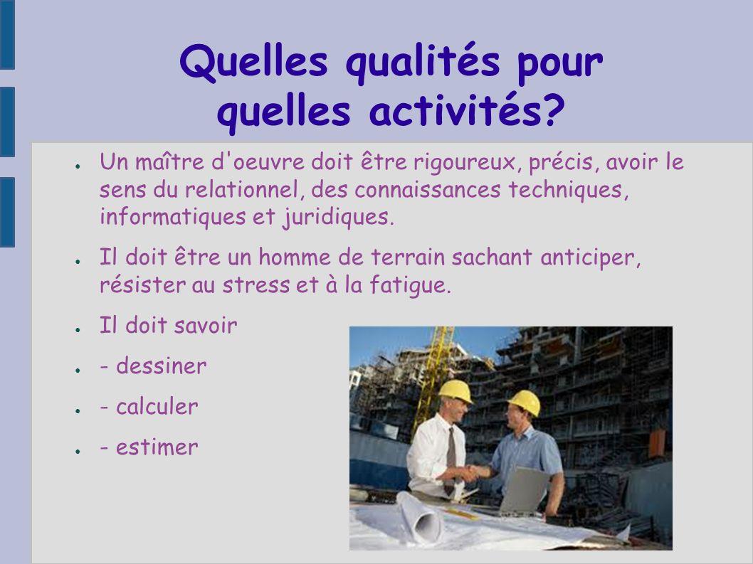 Quelles qualités pour quelles activités? Un maître d'oeuvre doit être rigoureux, précis, avoir le sens du relationnel, des connaissances techniques, i