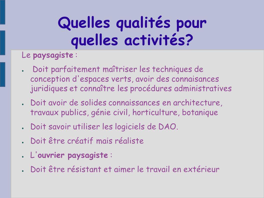 Quelles qualités pour quelles activités? Le paysagiste : Doit parfaitement maîtriser les techniques de conception d'espaces verts, avoir des connaisan