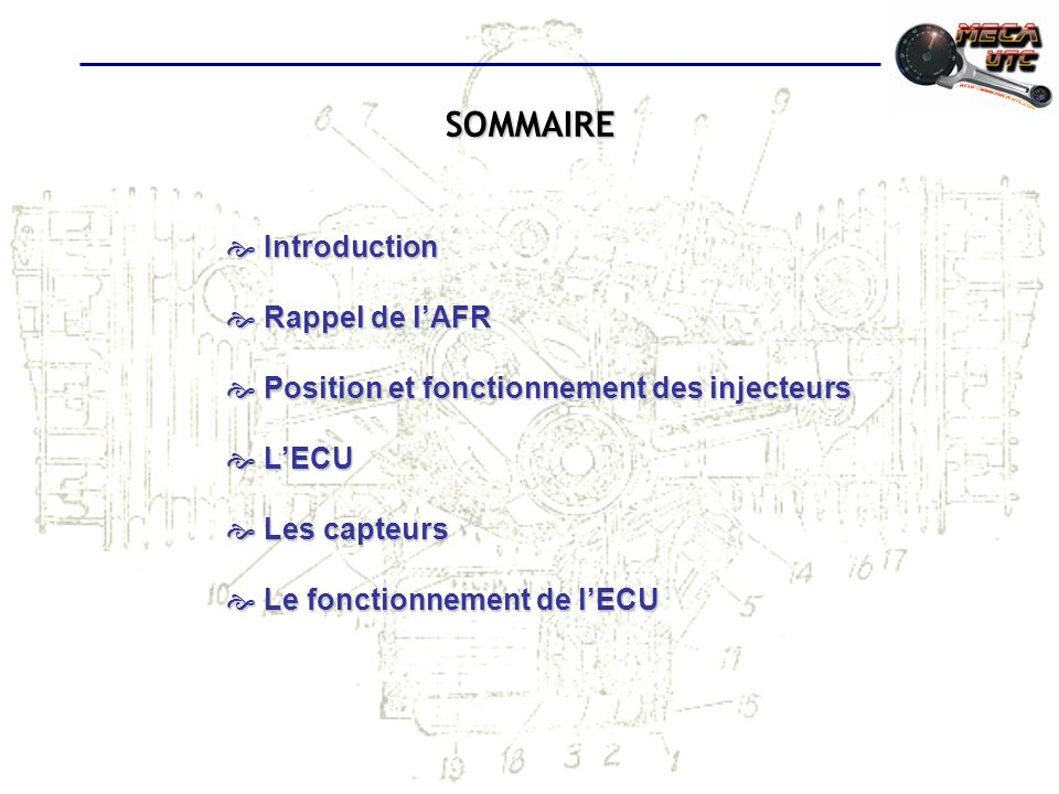 SOMMAIRE Introduction Introduction Rappel de lAFR Rappel de lAFR Position et fonctionnement des injecteurs Position et fonctionnement des injecteurs L
