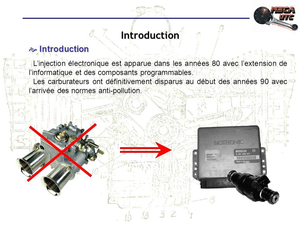 Introduction Introduction Introduction Linjection électronique est apparue dans les années 80 avec lextension de linformatique et des composants progr