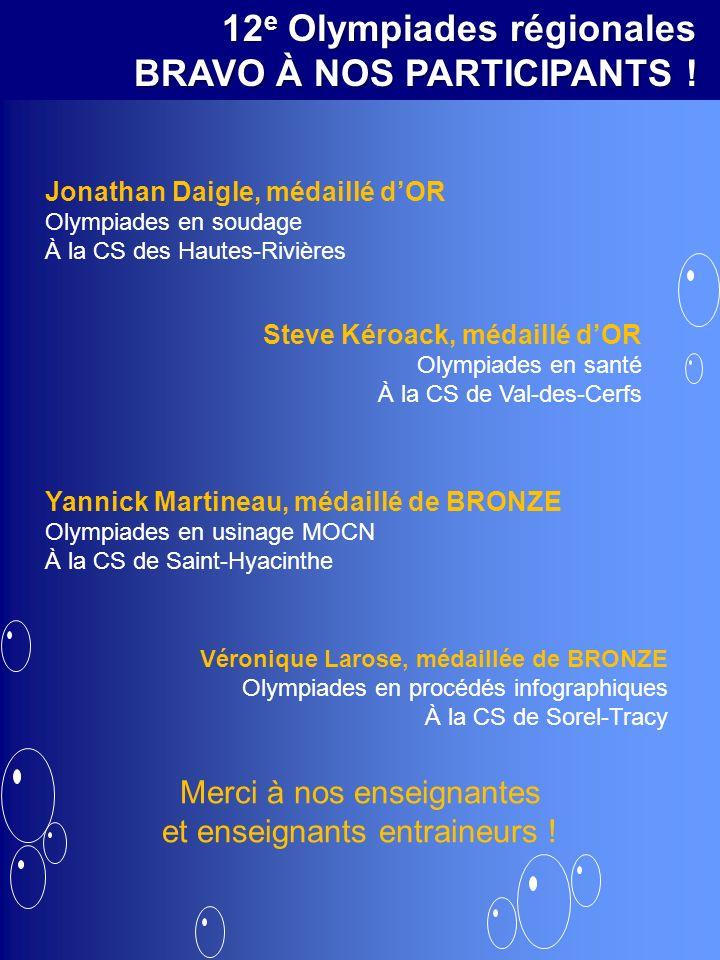 12 e Olympiades régionales BRAVO À NOS PARTICIPANTS ! Jonathan Daigle, médaillé dOR Olympiades en soudage À la CS des Hautes-Rivières Yannick Martinea