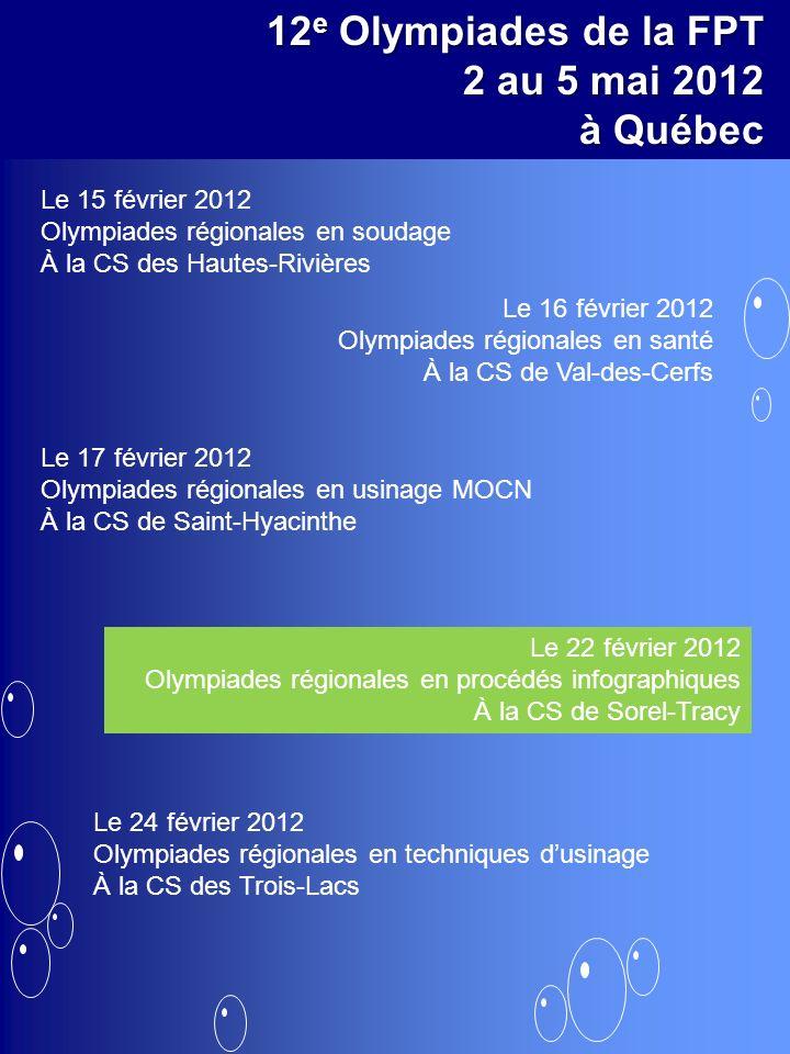 12 e Olympiades de la FPT 2 au 5 mai 2012 à Québec Le 15 février 2012 Olympiades régionales en soudage À la CS des Hautes-Rivières Le 17 février 2012