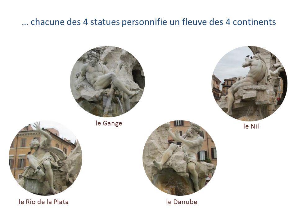 Promenade à partir de la Place Navone … Léglise Sainte-Agnès-en-Agone, lobélisque et la fontaine des Quatre Fleuves dont …