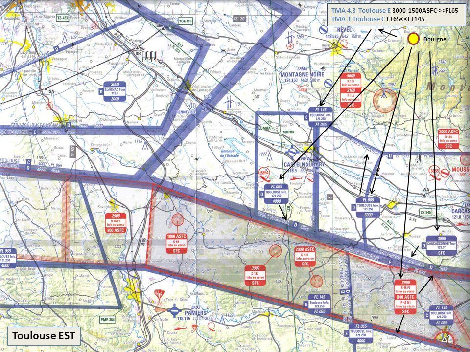 Toulouse EST Dourgne TMA 4.3 Toulouse E 3000-1500ASFC<<FL65 TMA 3 Toulouse C FL65<<FL145