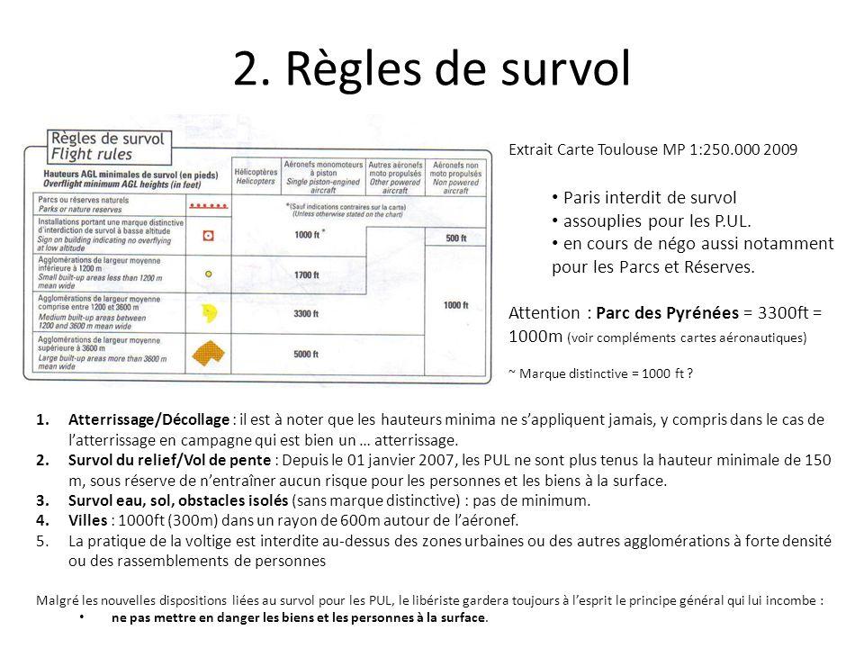 2. Règles de survol Extrait Carte Toulouse MP 1:250.000 2009 Paris interdit de survol assouplies pour les P.UL. en cours de négo aussi notamment pour