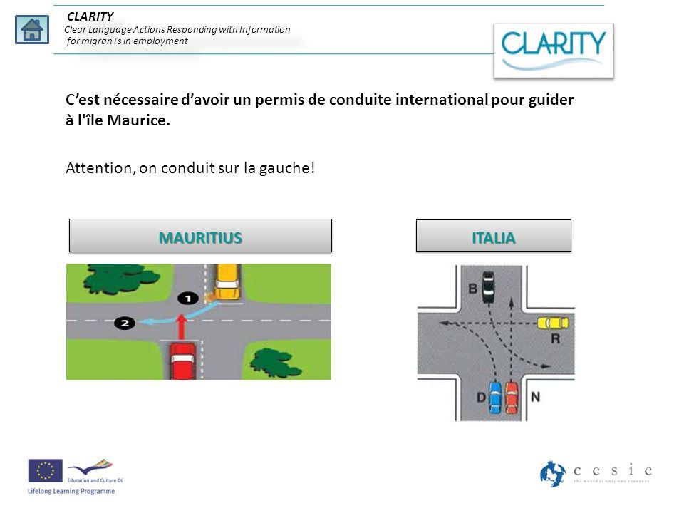 Cest nécessaire davoir un permis de conduite international pour guider à l'île Maurice. Attention, on conduit sur la gauche! MAURITIUSMAURITIUSITALIAI