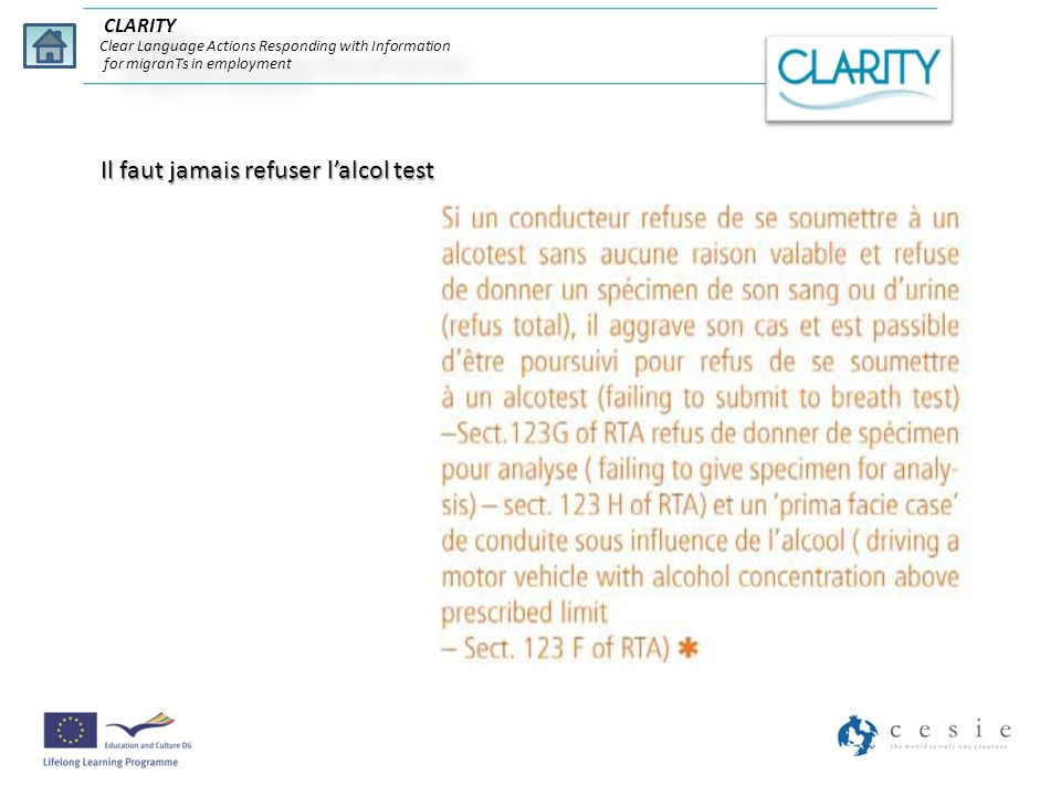 Il faut jamais refuser lalcol test CLARITY Clear Language Actions Responding with Information for migranTs in employment