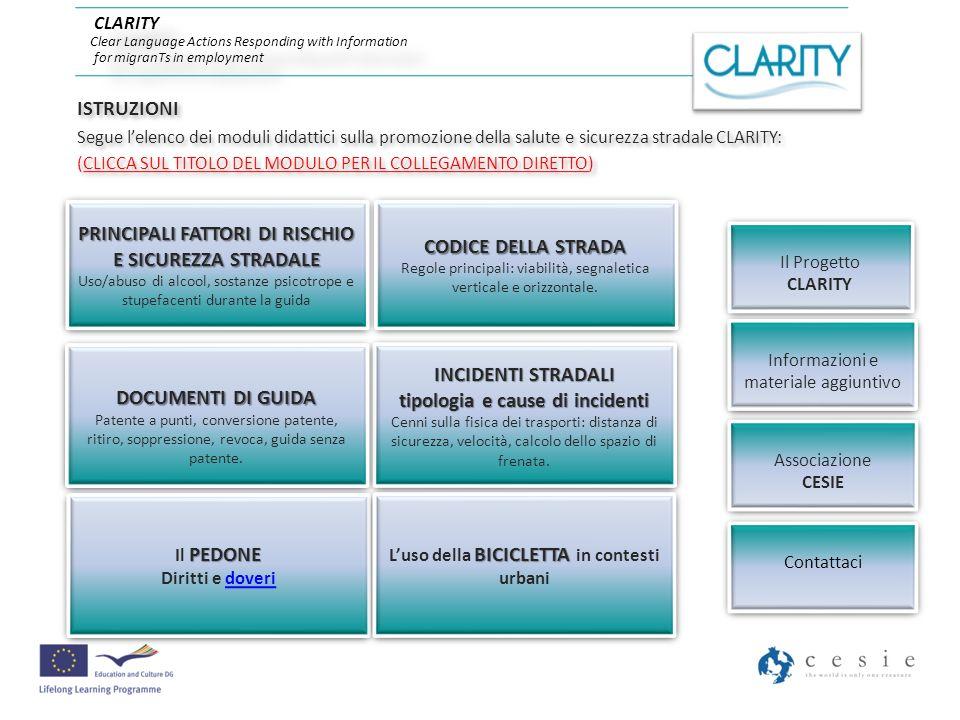 PRINCIPAUX FACTEURS A RISQUES ET SECURITE ROUTIERE Usage/abus dalcool, de substance psychotropes et de drogues durant la conduite PRINCIPALI FATTORI DI RISCHIO E SICUREZZA STRADALE Uso/abuso di alcool, sostanze psicotrope e stupefacenti durante la guida Par / a cura di MOUZIEN SOFIAN - Marocco - 2011 CLARITY Clear Language Actions Responding with Information for migranTs in employment www.clarity-project.org www.clarity-project.org CLARITY Clear Language Actions Responding with Information for migranTs in employment www.clarity-project.org www.clarity-project.org