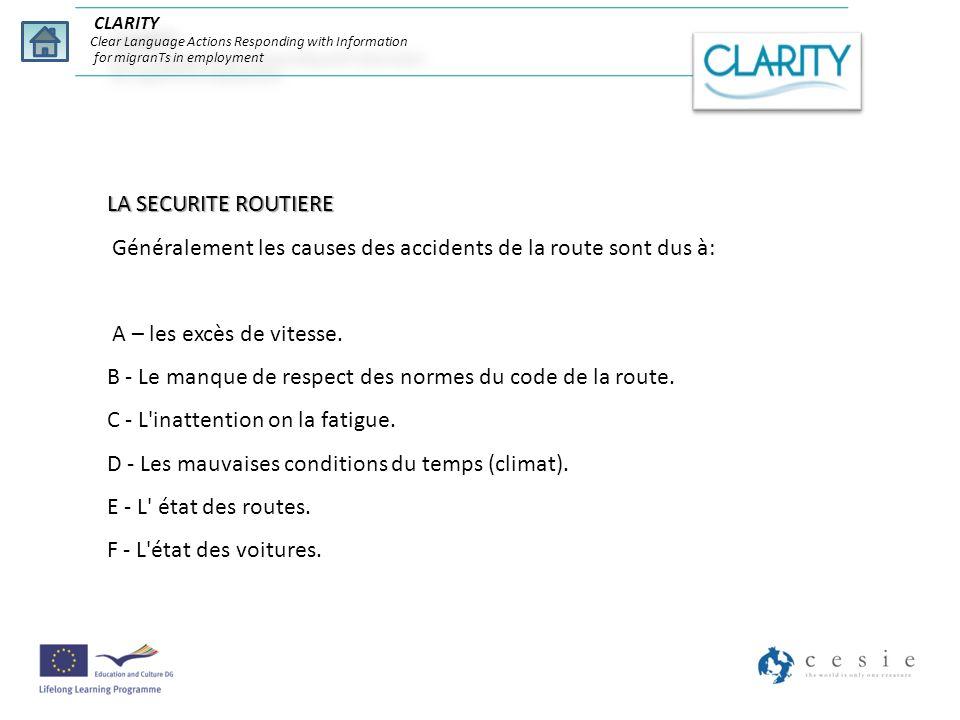 CLARITY Clear Language Actions Responding with Information for migranTs in employment LA SECURITE ROUTIERE Généralement les causes des accidents de la
