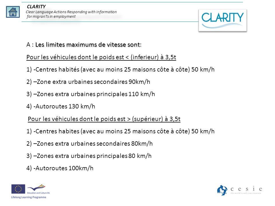 CLARITY Clear Language Actions Responding with Information for migranTs in employment Les limites maximums de vitesse sont A : Les limites maximums de