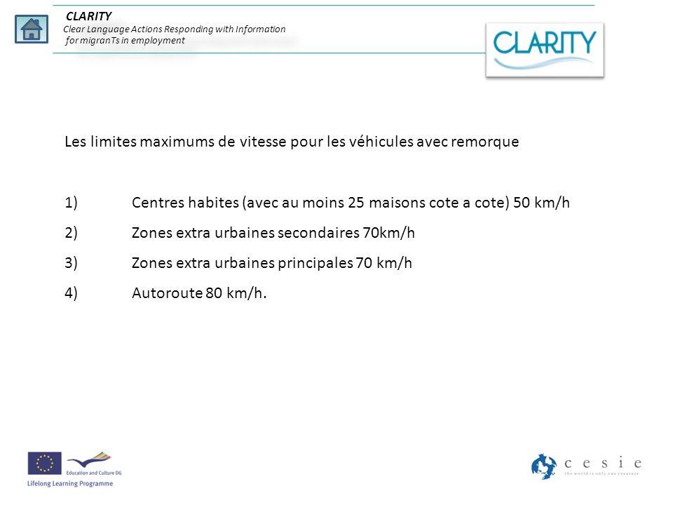 CLARITY Clear Language Actions Responding with Information for migranTs in employment Les limites maximums de vitesse pour les véhicules avec remorque