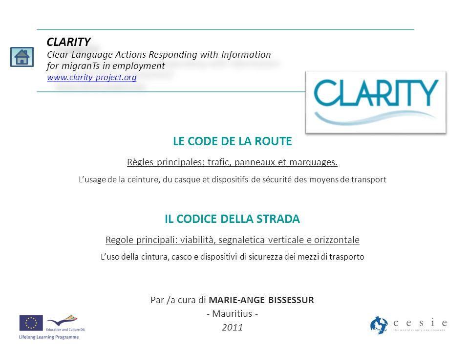 La signalisation horizontale est presente sur toutes les routes CLARITY Clear Language Actions Responding with Information for migranTs in employment