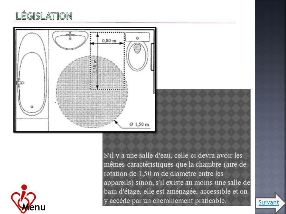 S'il y a une salle d'eau, celle-ci devra avoir les mêmes caractéristiques que la chambre (aire de rotation de 1,50 m de diamètre entre les appareils)