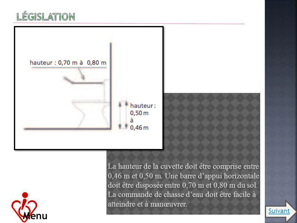 La hauteur de la cuvette doit être comprise entre 0,46 m et 0,50 m. Une barre dappui horizontale doit être disposée entre 0,70 m et 0,80 m du sol. La