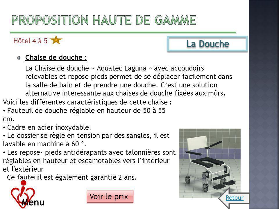 Hôtel 4 à 5 Chaise de douche : La Chaise de douche « Aquatec Laguna » avec accoudoirs relevables et repose pieds permet de se déplacer facilement dans
