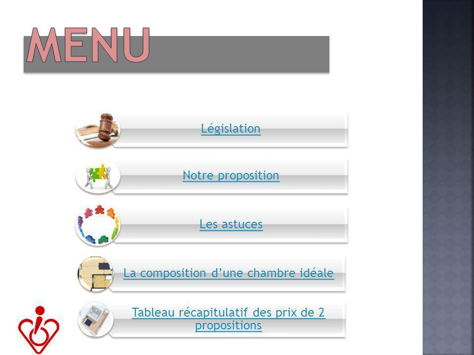Législation Notre proposition Les astuces La composition dune chambre idéale Tableau récapitulatif des prix de 2 propositions