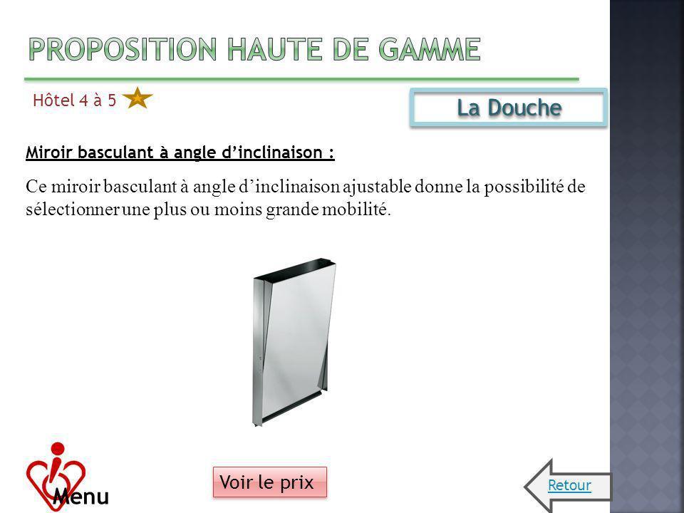 Hôtel 4 à 5 Menu La Douche Miroir basculant à angle dinclinaison : Ce miroir basculant à angle dinclinaison ajustable donne la possibilité de sélectio