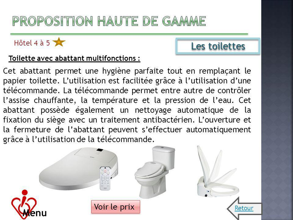 Hôtel 4 à 5 Menu Les toilettes Toilette avec abattant multifonctions : Cet abattant permet une hygiène parfaite tout en remplaçant le papier toilette.