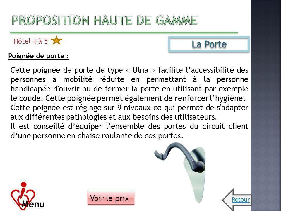 Hôtel 4 à 5 Menu La Porte Poignée de porte : Cette poignée de porte de type « Ulna » facilite laccessibilité des personnes à mobilité réduite en perme