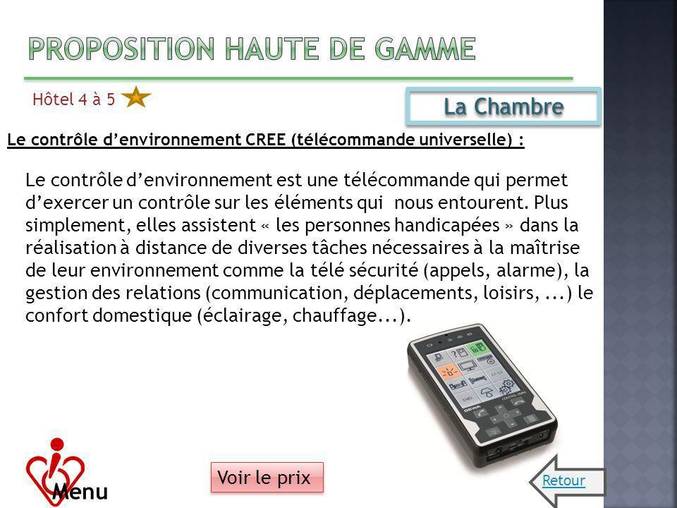 Hôtel 4 à 5 Menu La Chambre Le contrôle denvironnement CREE (télécommande universelle) : Le contrôle denvironnement est une télécommande qui permet de