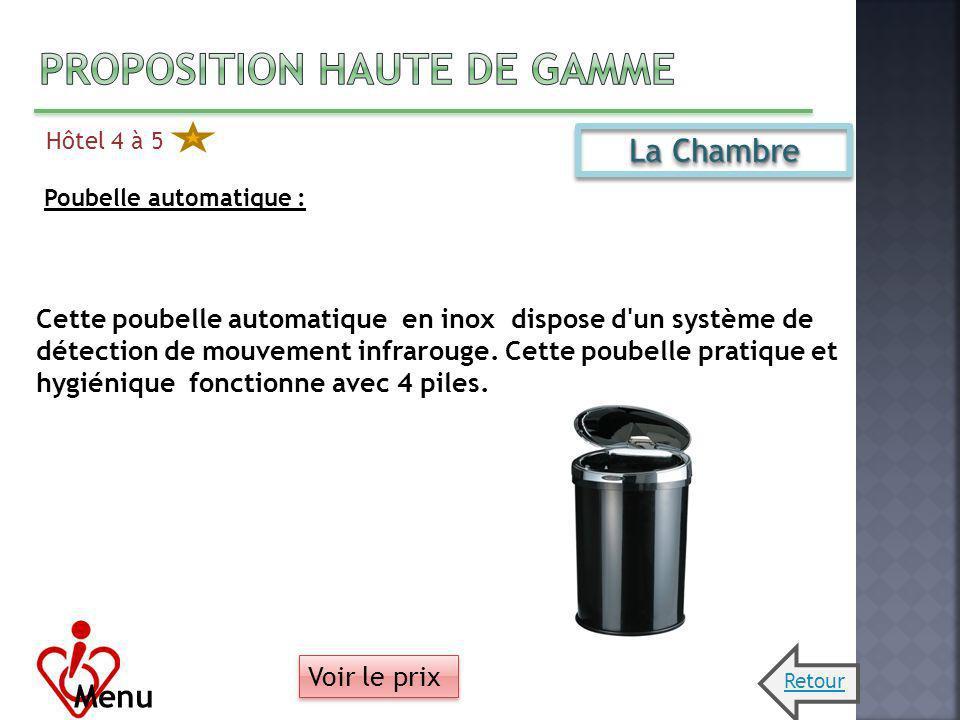 Hôtel 4 à 5 Menu La Chambre Poubelle automatique : Cette poubelle automatique en inox dispose d'un système de détection de mouvement infrarouge. Cette
