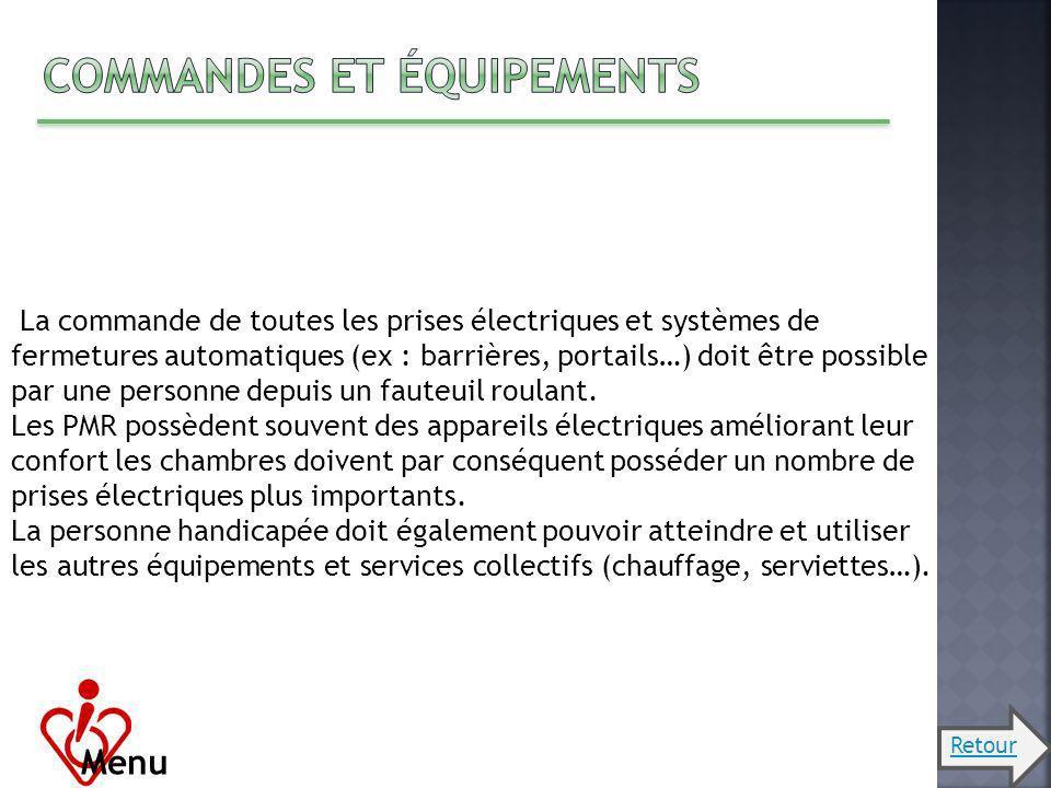 Menu La commande de toutes les prises électriques et systèmes de fermetures automatiques (ex : barrières, portails…) doit être possible par une person