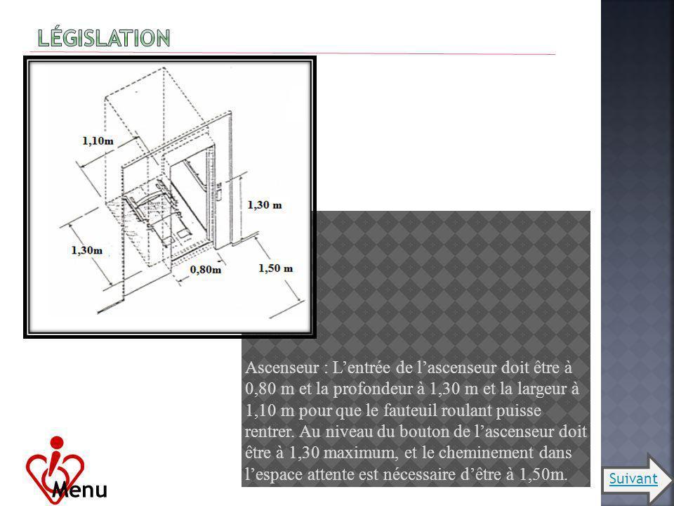 Ascenseur : Lentrée de lascenseur doit être à 0,80 m et la profondeur à 1,30 m et la largeur à 1,10 m pour que le fauteuil roulant puisse rentrer. Au