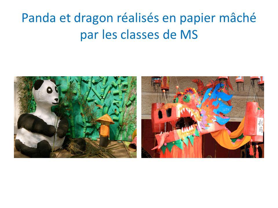 Panda et dragon réalisés en papier mâché par les classes de MS