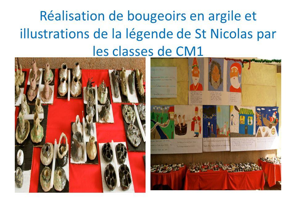 Réalisation de bougeoirs en argile et illustrations de la légende de St Nicolas par les classes de CM1