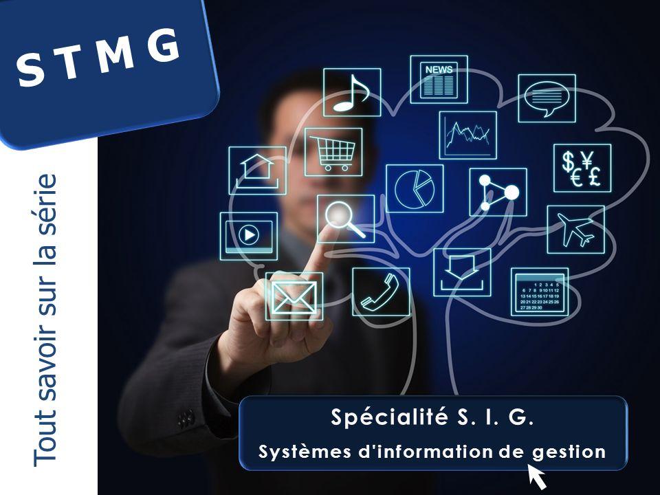 Spécialité S. I. G.Spécialité S. I. G. Systèmes d'information de gestionSystèmes d'information de gestion S T M G Tout savoir sur la série