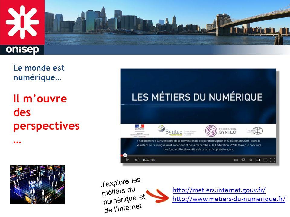 Le monde est numérique… Il mouvre des perspectives … http://metiers.internet.gouv.fr/ http://www.metiers-du-numerique.fr/ Jexplore les métiers du numé