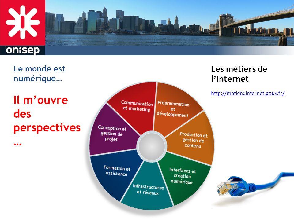 http://metiers.internet.gouv.fr/ Les métiers de lInternet Le monde est numérique… Il mouvre des perspectives …