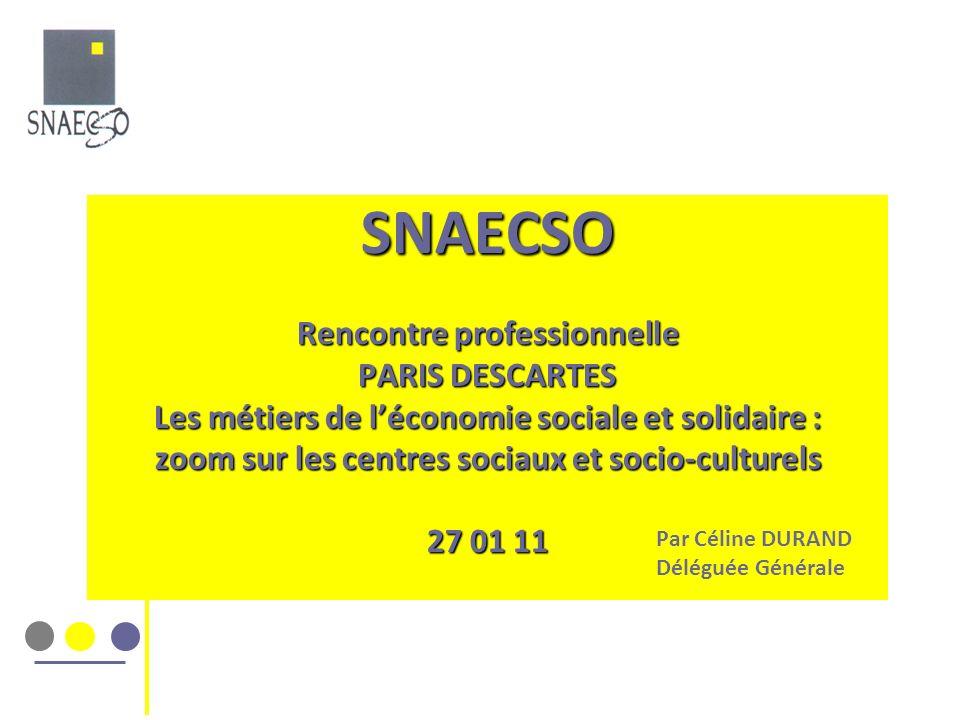 SNAECSO Rencontre professionnelle PARIS DESCARTES Les métiers de léconomie sociale et solidaire : zoom sur les centres sociaux et socio-culturels 27 0