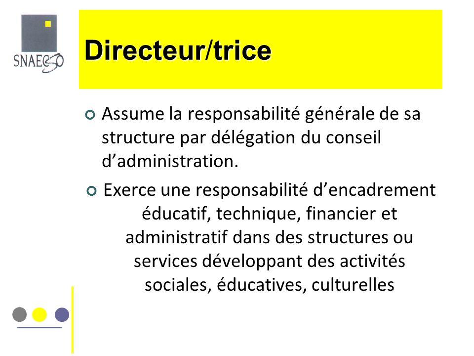 Assume la responsabilité générale de sa structure par délégation du conseil dadministration. Exerce une responsabilité dencadrement éducatif, techniqu