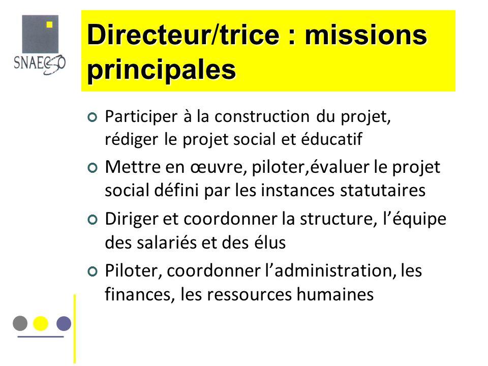 Participer à la construction du projet, rédiger le projet social et éducatif Mettre en œuvre, piloter,évaluer le projet social défini par les instance