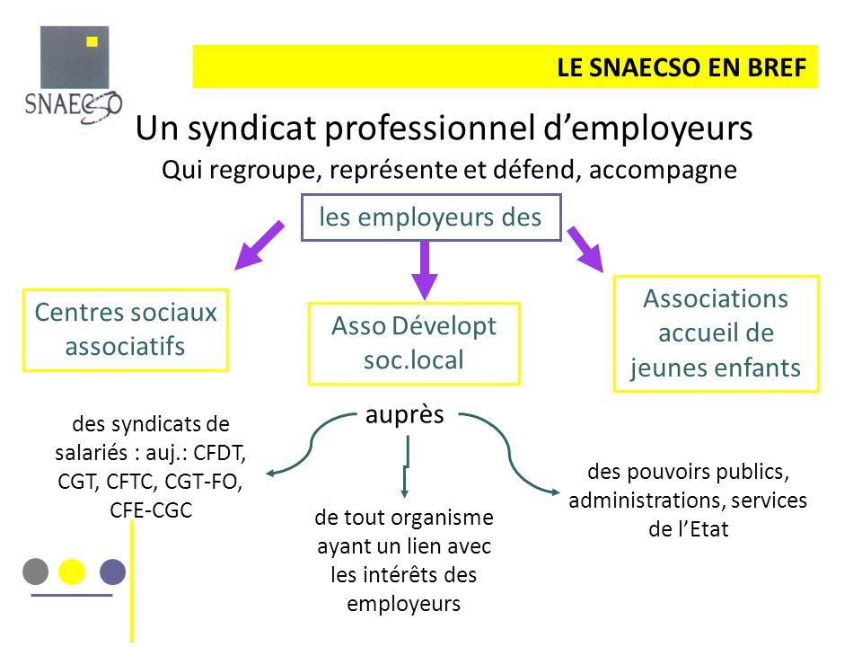 LE SNAECSO EN BREF Un syndicat professionnel demployeurs Qui regroupe, représente et défend, accompagne des syndicats de salariés : auj.: CFDT, CGT, C