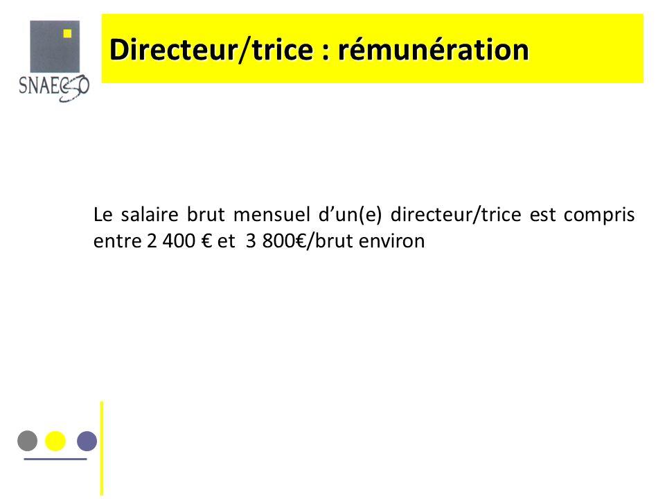 Directeurtrice : rémunération Directeur/trice : rémunération Le salaire brut mensuel dun(e) directeur/trice est compris entre 2 400 et 3 800/brut envi