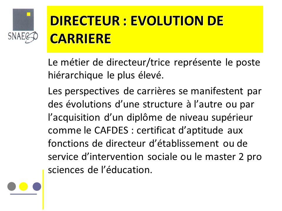 DIRECTEUR : EVOLUTION DE CARRIERE Le métier de directeur/trice représente le poste hiérarchique le plus élevé. Les perspectives de carrières se manife